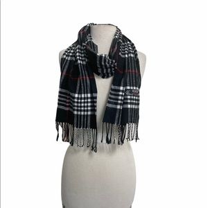 Scarf black white and red plaid cashmere/ viscose